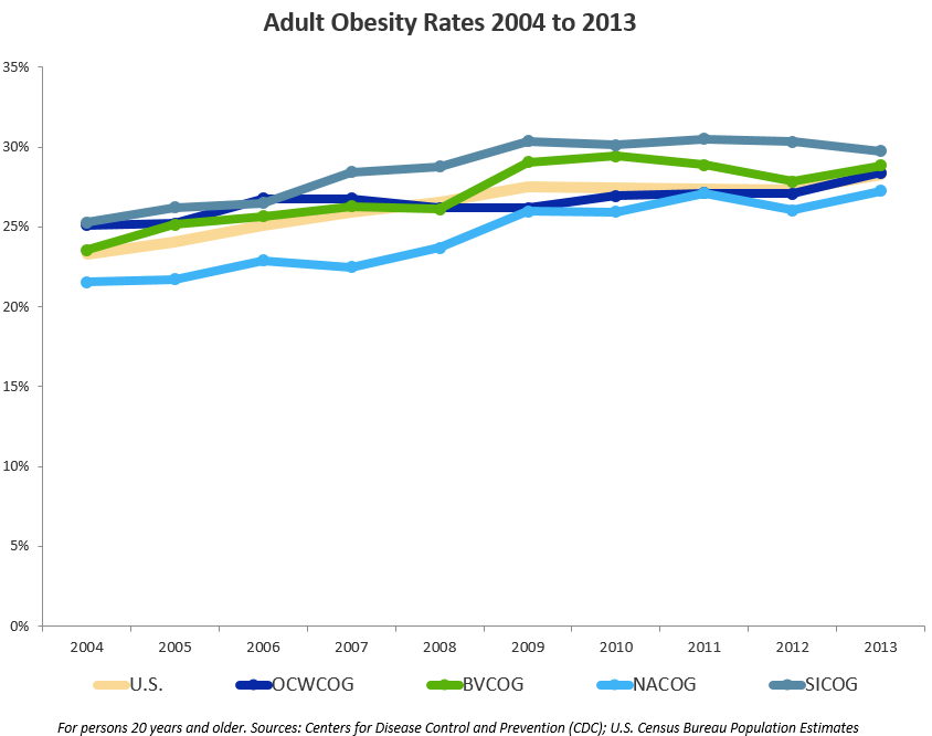 Adult Obesity Rates, 2004–2013