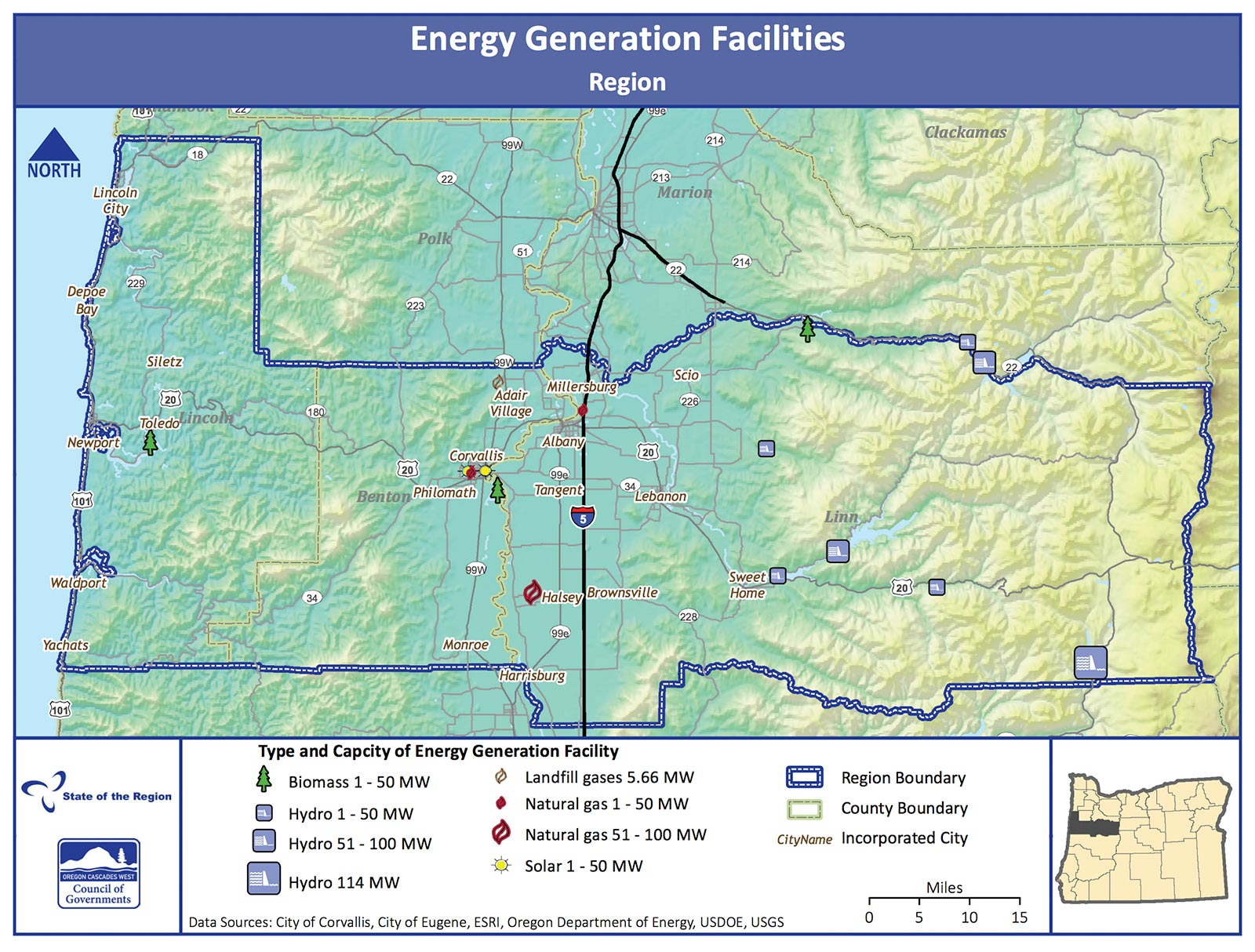 Map of Energy Generation Facilities in the Region