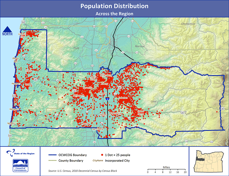 Population distribution across the region.