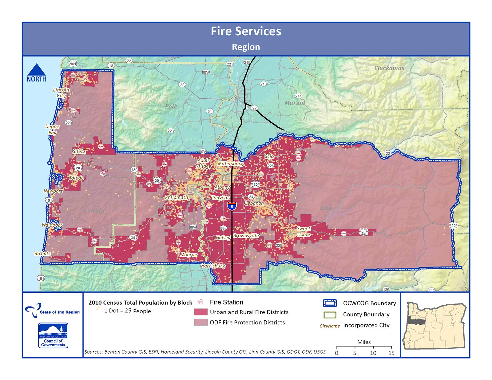 Map of Fire Services in the Region