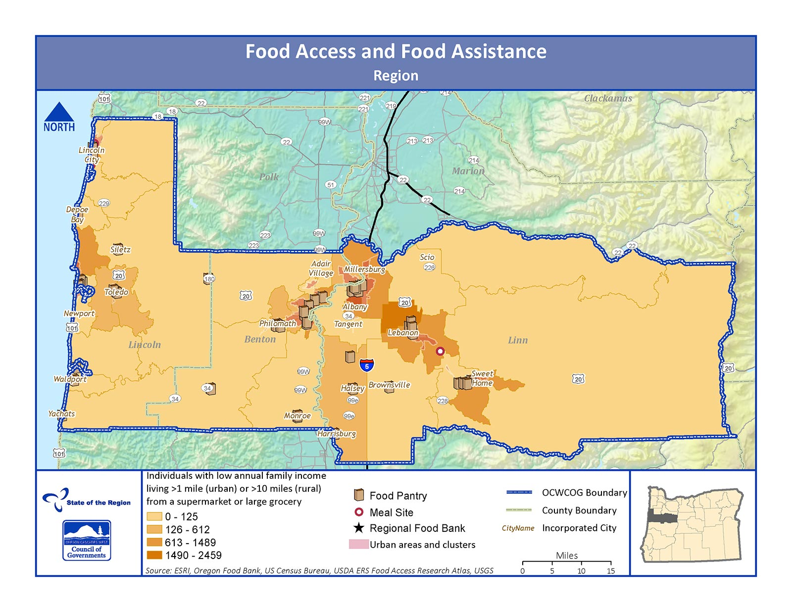 Map of Food Access and Food Assistance in the Region