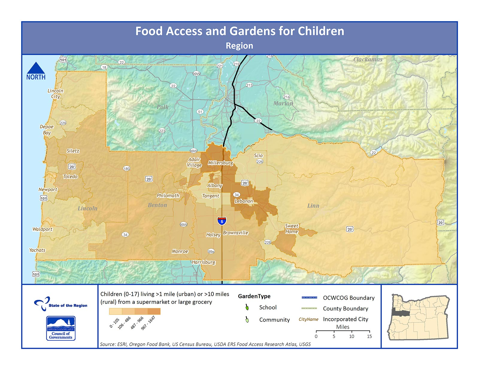 Map of Food Access and Gardens for Children in the Region