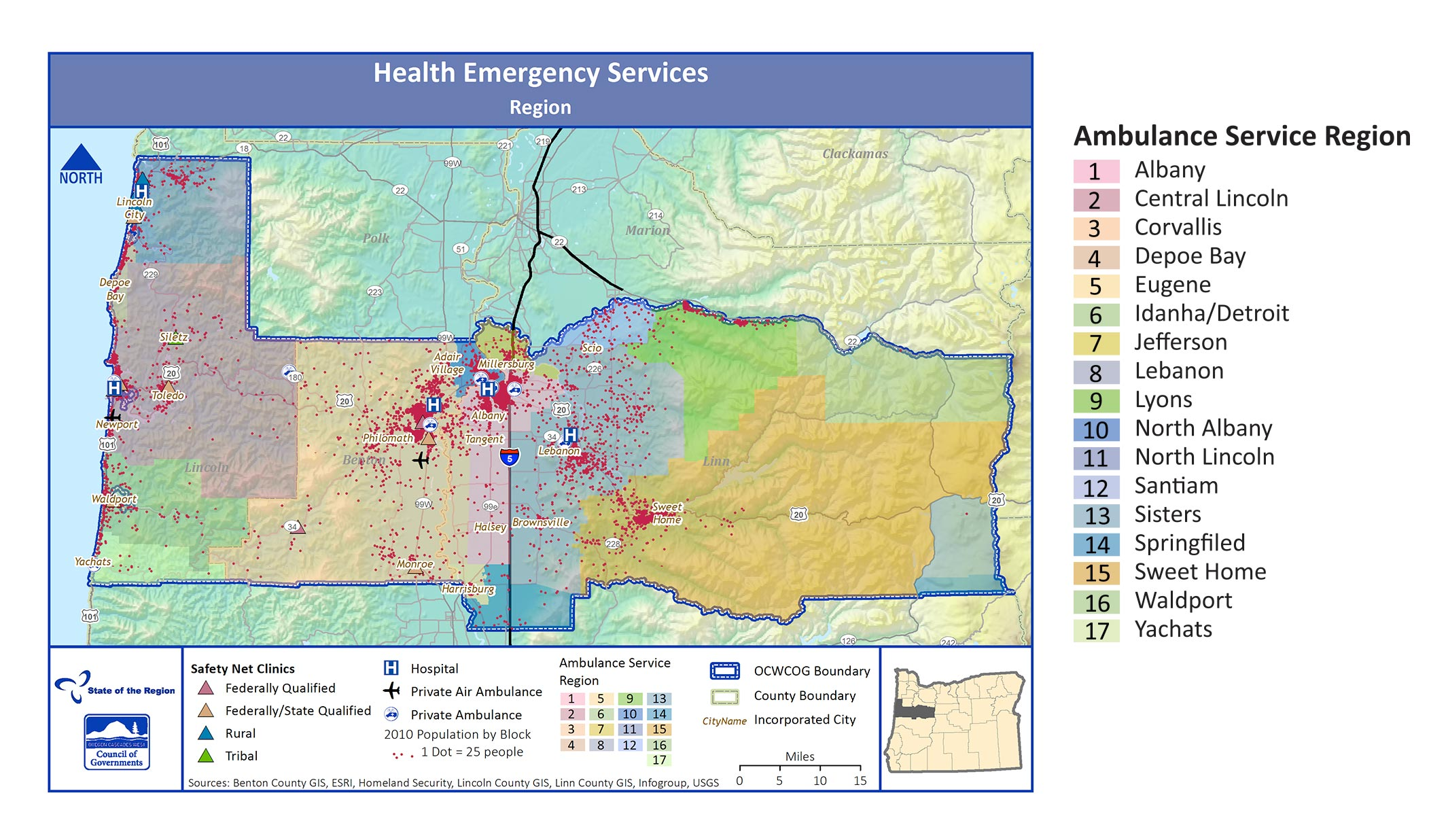 Map of Health Emergency Services in the Region