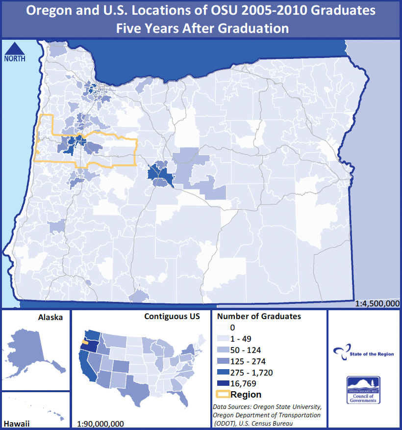 Oregon and U.S. Locations of OSU 2005–2010 graduates five years after graduation