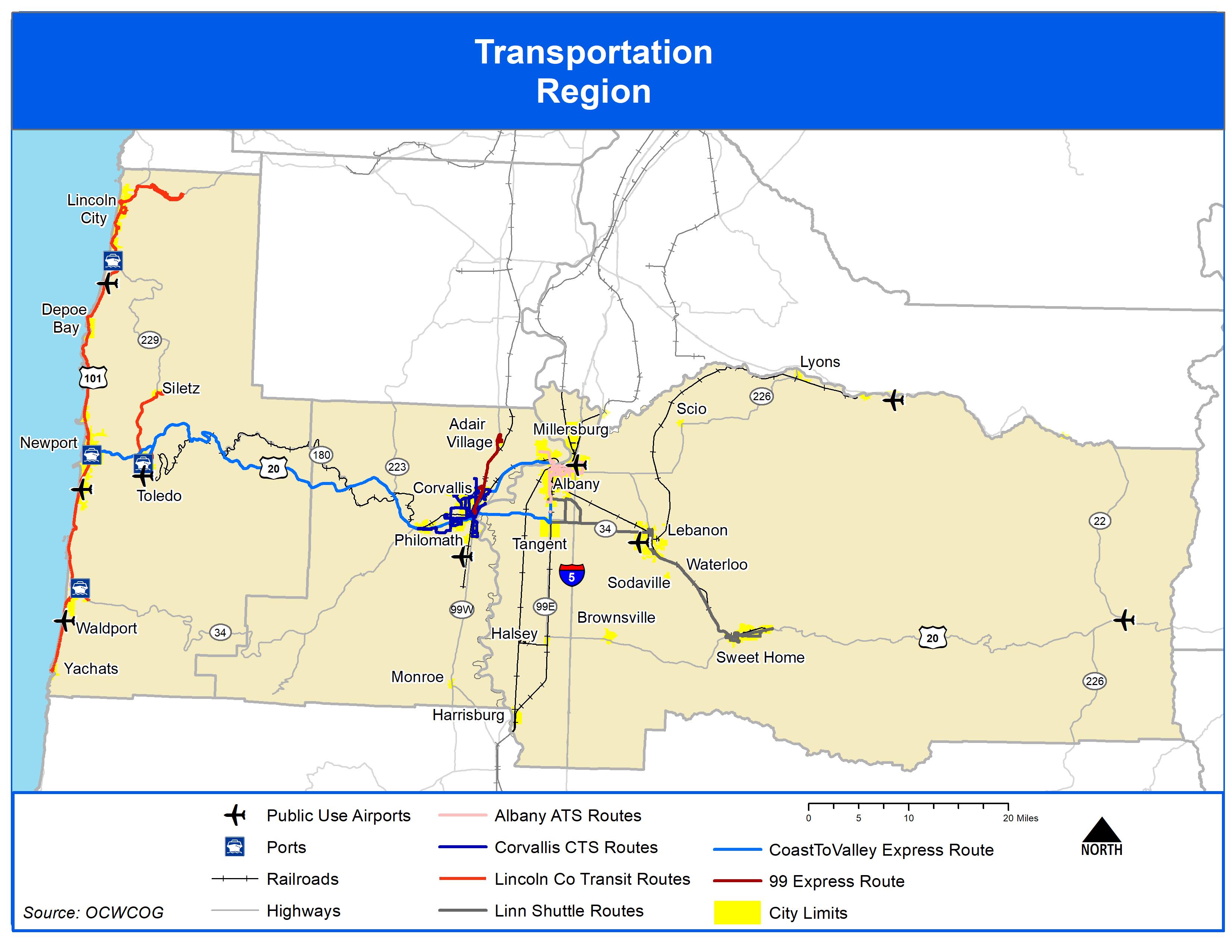 Map of Transportation in the Region 2021